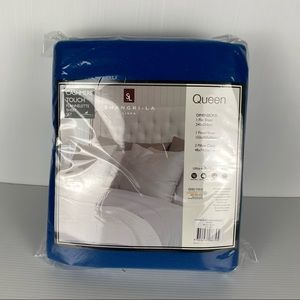 Shang-La Linen Royal Blue Cashmere Ultra-Soft Flannelette Sheet Set Size Queen